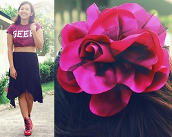 Angeline Rodriguez - Topshop Maroon Geek Shirt, Fq&L Black Ruffled Skirt, Chick Flick Red Boots - I'd rather wear flowers in my hair than diamonds on my neck.