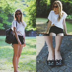 Suzie S. - Brylove Cheetah Sunglasses, Parfois Leather Backpack, Vintage Watch, H&M White Tee, Zara Laced Shorts, Cat Shoes - Two cats