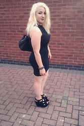 Leigh Freda - River Island Lbd, Garage Shoes Black Wedges, Chanel Black Quilted Leather Bag - LBD