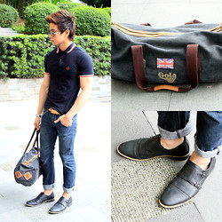 Nick Ronquillo - Gola Holdall Bag, Milanos Monk Strap Shoes - All Neutrals