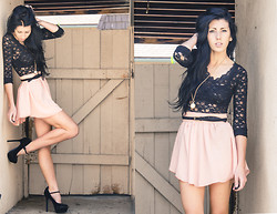 Chelsea Den - Free People Lace Top, American Apparel Skirt, American Apparel Belt - Black Lace