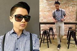 Karlson Simon Pinon - H&M Pants, Zara Gingham Shirt, Alexander Mcqueen Sunnies, Guess? High Top Shoes, Uniqlo Socks, H&M Suspenders - NERD.