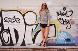 Lisa Olsson - Femme Top, Marc By Jacobs Watch, Calvin Klein Bracelet, Nelly Leather Shorts, Zara Shoes, Fashionell Sunglasses - Graffiti walls