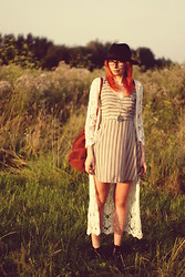 Kasia Cieślik - H&M Hat, Stradivarius Crochet Sweater, Swaychic Dress, Vintage Backpack From Not A Virgin Shop - Come Sit On The Dunes And Watch The Wind Blow The Sand