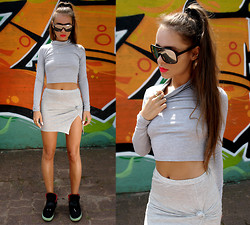 "Paula Suchowera - Oasap Mirror Shades, Sheinside Crop Grey Blouse, Japanese Fly Knot Grey Skirt, Nike Air Yeezy Black Solar Red Sneakers - Sci - Fi   /  Ciara - ""I'm Out"""