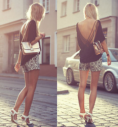 Daisy R. - Persun Aztec Shorts, Sammydress Studded Bag, Wholesale7 White Heels - B/W AZTEC SHORTS