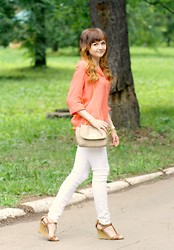 Happy Girl - Modis Top, Incity Pants, Bershka Wedges - Coral mood