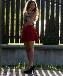 Jovana D. - New Yorker Top, Sheinside Skirt, Justfab Heels - Red is the color of love and blood