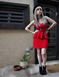 Astrid Baudelaire - Forever 21 Red Dress, Journeys Black Hat - Some Red and Rain
