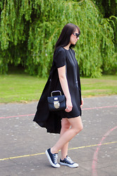 Insomnia Heartbreak - Asos Draped Dress, Converse Low Top - All black