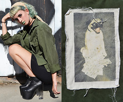 Flower Perdew - 50/5 One Of A Kind Army Jacket, American Apparel Turtle Neck Dress, Unif Das Boot, Limecrime Mint - Pug Lyfe