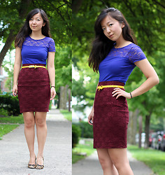 Angie C - H&M Lace Top, Forever 21 Lace Pencil Skirt - She blocked off her schedule for lace and primary colours