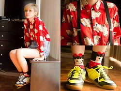 Bea Benedicto - Terranova Neon Shoes, Girl Socks, Thrifted Sumo Polo - Sumo Girl
