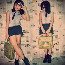 Thư Thưuuuu - H&M Shorts, Primark Bell, Leather Bag, Accessorize Mini Tie - I'm happy now living without you !