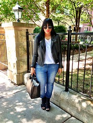 Klerlie Raymond - All Saints Cargo Leather Jacket, H&M White Tank, Forever 21 Blue Jeans, Necessay Peep Toed Wedges, Zara Black Tote - SBF