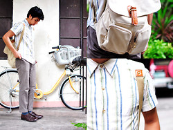 Reyner Cadapan - Arizona Stripped Iron Free Polo, Forever 21 Khaki Pants, Bernardo Brown Leather Shoes, Salvatore Ferragamo White Back Pack - BUTTONS