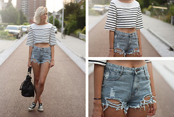 Sietske L - H&M Cropped Top, Sheinside Shorts, H&M Bag - Cropped stripes