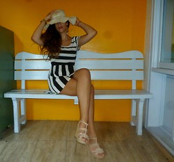 Marina Mavromati - Claire's Earrings, H&M Bracelet, Lambrakis Hat, H&M Wedges, H&M Dress - The Zebra effect !