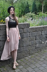 Laura R. - H&M Hat, Asos Crop Top, Atmosphere Necklace, Atmosphere Highlow Skirt, Bershka Sandals, Casio Watch - An Awesome Wave