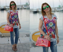 Vale ♥ - Who's Who Flamingos Blouse, Zara Boyfriends, Marc By Jacobs Transparent Bag, Oakley Mirror Sunnies, Loriblu Sandals - Flamingos blouse, transparent bag