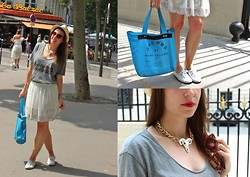 Valou Modeuze - Gina Tricot Skirt, Marc By Jacobs Bag, Gina Tricot Necklace, Zadig Et Voltaire Tee Shirt, H&M Shoes - Summer in Paris