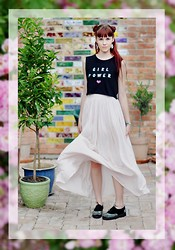 Josefin W - Home Made Girl Power Shirt, Urban Outfitters Spike Shoes - ♀ GIRL POWER ♀