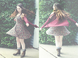 Ashley N - Wanted Brown Combat Boots, Frenchi Maroon Cardigan, Mimi Chica Floral Dress - Eet
