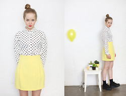 THE WHITEPEPPER - The Whitepepper Yellow Mini Skirt, The Whitepepper Polka Dot Blouse White, The Whitepepper Wedge Trainer Black - Yellow on a rainy day