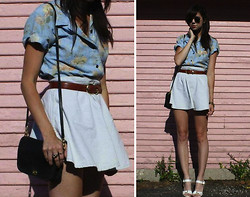 Caylee M. - Thrifted Floral Shirt, Vintage Belt, Boohoo Chambray Skirt, Coach Purse, Ray Ban Sunglasses, Asos Heels, Michael Kors Watch - Take me there.
