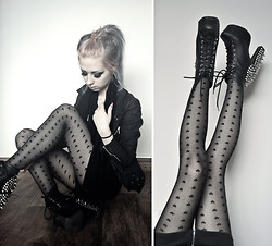 Rosa Pekkanen - Cybershop Jacket, Jeffrey Campbell Spiked Litas, Lindex Tights - Stab the heart