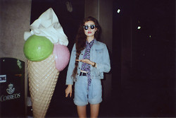 Violet Ell - American Apparel Rayon Mid Length Tie Up Blouse, Thrift Store Denim Shorts, Thrift Store Denim Jacket, Casio Watch, Sunglasses - 04.07.2013