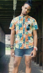 Corey Randle - Urban Outfitters Cat Button Up, Levi's® Thrifted Jean Shorts - You've cat to be kidding me