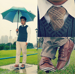 John Roy Agcaoili - Burberry Stripes Brown Neck Tie, Cardams Wooden Brown Shoes, V Neck Pull Over Vest, Swatch Blue Watch, J. Crew Khaki Pants - Rain