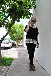 Astrid Baudelaire - Wet Seal White Lace Blouse, Material Girl Black Short Blouse, Forever 21 Dark Skinny Jeans, Ray Ban Black Aviators - COOL AND COMFY