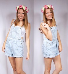 Meg Davis - Diy Flower Crown, Thrifted Overalls, Aldo Sunnies - Love in her eyes and flowers in her hair