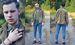 Joe Weightman - Cross My Palm Afghan Carnelian Ring, Charity Shop Khaki Green Shirt, Cross My Palm Suede Blouson Jacket, Sparks Classic Blue Jeans, Dr. Martens Thick Soled Loafers - Leslie McKenna - Best Top Trump Card