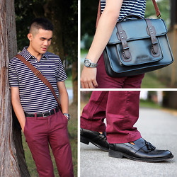 Justin Leigh - Oak Nowalk Polo, Ted Baker Satchel, Life/Aftre/Denim Chinos, Aldo Tassel Loafers - Easy Going