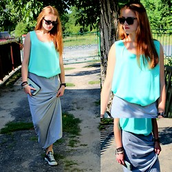 Iwona K. - Vintage Grandma Top, Converse, Reserved Long Skirt, Ray Ban Rayban - Neo & long