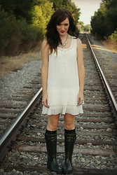 The Rambler - Forever 21 Dress, Joules Rainboots - Rainy Day Girl
