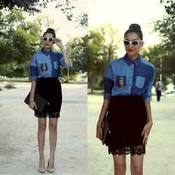 Aigyz Rebelle - Zara Denim, Chanel Broche, Glasses Cat Eye - Black skirt