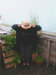 Jess Molina - Vintage Hat, Ruby Boutique Polkadot Pants, Vintage Cardigan, Thrifted Lace Top - Spring Awakening