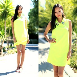 Aibina Yeshkeyeva - Zara Sandals - Neon dress