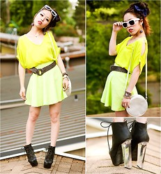 Aika Y - Lush Neon Chiffon Top, H&M Neon Skirt, Charlotte Russe Clear Heel Lace Up Booties, H&M Hologram Round Bag, Forever 21 White Frame Sunnies, Express Gold Necklace, American Apparel Bow Hair Clip - 80's Double Neon