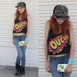 Rose Pendleton - Love Spike Hat, I'm A Jerk Industries Lime Green Diamond Earrings, Love Ouch Crop Top, Wal Mart Yoshi Wallet, Hot Topic Robot Wristband, Laundry List Boots - Cosmic Neon