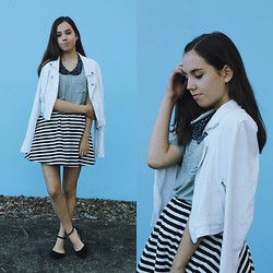 Isabella Wight - Target White Jacket, Do It Designer Grey Tee, Asos Skirt - The Grey Tee