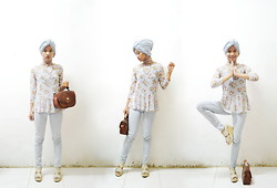 Pramita Handarini - Floral Vintage Peplum Top, Sky Blue Jeans, Leather Hand Bag, Beige Wedges, Scarf - Something in the way you move