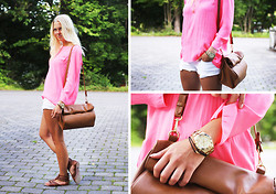 Fanny Larsson - Zara Blouse, Hollister Denim Shorts, Marc By Jacobs Blade Watch, Marc By Jacobs Bracelet, Zara Clutch/Bag - Pinkie for summerparty