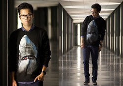 Billy Ho - Choies Shark Sweatshirt - Portal