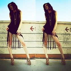 "Sierra Rae - Topshop Black Fringe Dress, Steve Madden ""Viper"" Leopard Heels, Vintage Jewelry - She wants to tear you apart"