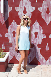 "Jessica Snyder - Sam Edelman Putnam Bootie, Mint Clothing Company ""Do The Twist"" Dress - Blue Crush."